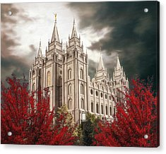 Salt Lake Temple - A Light In The Storm - Cropped Acrylic Print by Brent Borup