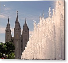 Salt Lake Temple And Fountain Acrylic Print by Rona Black