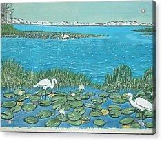 Salt Marsh Egrets Acrylic Print by Hilda and Jose Garrancho