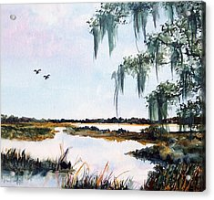 Salt Marsh With Live Oak Acrylic Print by Carol Sprovtsoff
