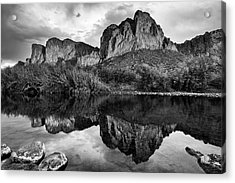Acrylic Print featuring the photograph Salt River Reflections In Black And White by Dave Dilli