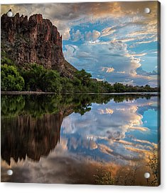 Acrylic Print featuring the photograph Salt River Sunset Reflections by Dave Dilli