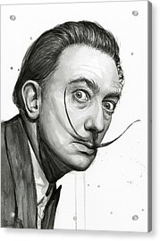 Salvador Dali Portrait Black And White Watercolor Acrylic Print