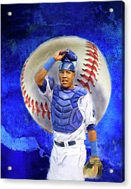 Acrylic Print featuring the mixed media Salvador Perez-kc Royals by Colleen Taylor