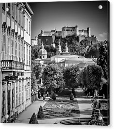 Salzburg Wonderful View To Salzburg Fortress Monochrome Acrylic Print by Melanie Viola