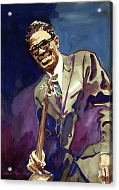 Sam Lightnin Hopkins Acrylic Print by David Lloyd Glover