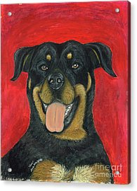 Acrylic Print featuring the painting Sam The Rottewieler by Ania M Milo