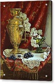 Samovar And Cherry Blossoms Acrylic Print