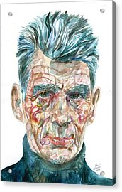 Acrylic Print featuring the painting Samuel Beckett Watercolor Portrait.10 by Fabrizio Cassetta