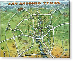 Acrylic Print featuring the painting San Antonio Texas Cartoon Map by Kevin Middleton