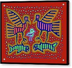 Acrylic Print featuring the digital art San Blas Kuna Bird Family With Fish by Vagabond Folk Art - Virginia Vivier