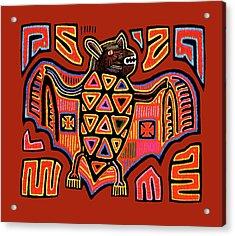 Acrylic Print featuring the digital art San Blas Kuna Indian Bat by Vagabond Folk Art - Virginia Vivier
