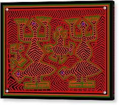 Acrylic Print featuring the digital art San Blas Shaman Spirits by Vagabond Folk Art - Virginia Vivier