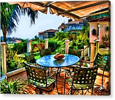 San Clemente Estate Patio 2 Acrylic Print by Kathy Tarochione