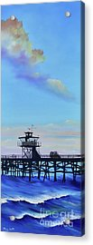 Acrylic Print featuring the painting San Clemente High Surf by Mary Scott