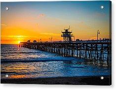 San Clemente Pier At Dusk Acrylic Print by Mountain Dreams