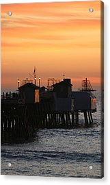 San Clemente Pier Sunset Acrylic Print by Brad Scott