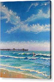 Acrylic Print featuring the painting San Clemente Surf by Mary Scott