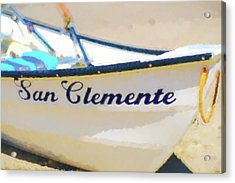San Clemente To The Rescue  Lifeguard Boat Watercolor 2 Acrylic Print