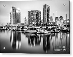 San Diego At Night Black And White Picture Acrylic Print