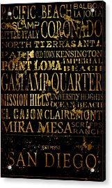 San Diego Typography Acrylic Print by Tanya Harrison