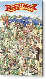 San Francisco - Where East Meets West Acrylic Print by Philippe Plouchart