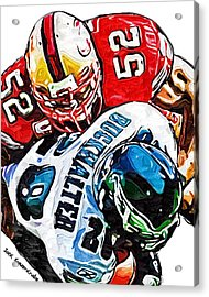 San Francisco 49ers Patrick Willis Philadelphia Eagles Correll Buckhalter  Acrylic Print by Jack K
