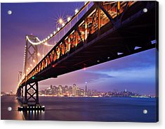 San Francisco Bay Bridge Acrylic Print by Photo by Mike Shaw