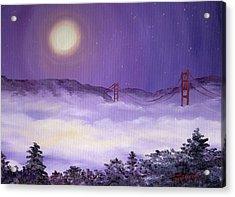 San Francisco Bay In Purple Fog Acrylic Print by Laura Iverson
