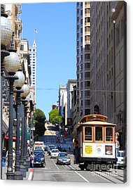 San Francisco Cablecar On Powell Street Acrylic Print by Wingsdomain Art and Photography