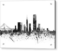 San Francisco California Cityscape 02bw Acrylic Print by Aged Pixel