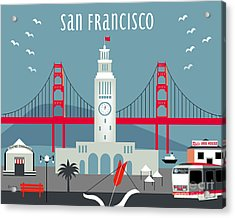 San Francisco California Horizontal Skyline - Ferry Building Acrylic Print by Karen Young