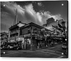Acrylic Print featuring the photograph San Francisco - Chinatown 002 Bw by Lance Vaughn