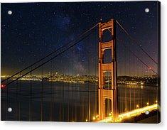 San Francisco City Skyline Through Golden Gate Bridge Acrylic Print by David Gn