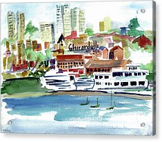 San Francisco Cityfront From Aquatic Park Acrylic Print by Tom Simmons