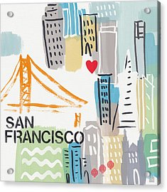 San Francisco Cityscape- Art By Linda Woods Acrylic Print by Linda Woods