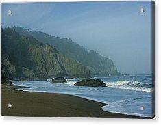 San Francisco Fog - China Beach Soft Foam Rough Rocks Acrylic Print