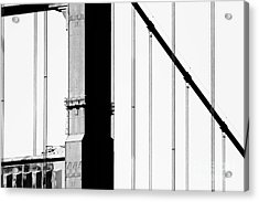 San Francisco Golden Gate Bridge . Black And White Photograph . 7d7954 Acrylic Print by Wingsdomain Art and Photography