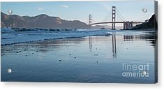 San Francisco Golden Gate Bridge Reflected On Baker's Beach Wet  Acrylic Print