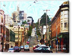 San Francisco Lombard Street Acrylic Print by Wingsdomain Art and Photography
