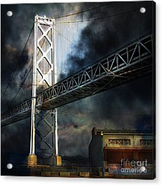 San Francisco Nights At The Bay Bridge 7d7748 Square Acrylic Print