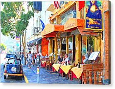 San Francisco North Beach Outdoor Dining Acrylic Print by Wingsdomain Art and Photography