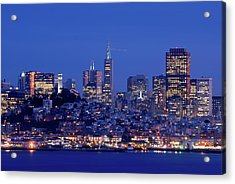 San Francisco Skyline At Dusk Acrylic Print by David Rout