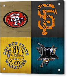 San Francisco Sports Fan Recycled Vintage California License Plate Art 49ers Giants Warriors Sharks Acrylic Print