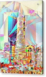 Acrylic Print featuring the photograph San Francisco Transamerica Tower In Abstract Cubism 20170326 V2 by Wingsdomain Art and Photography