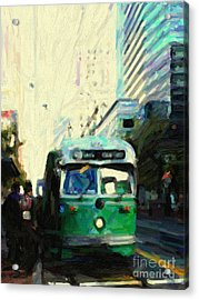San Francisco Trolley F Line On Market Street Acrylic Print by Wingsdomain Art and Photography
