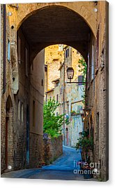 San Gimignano Archway Acrylic Print by Inge Johnsson