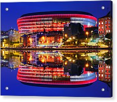 San Mames Stadium At Night With Water Reflections Acrylic Print