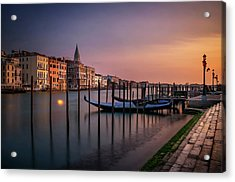 San Marco Campanile With Gondolas At Grand Canal During Calm Sunrise, Venice, Italy, Europe. Acrylic Print