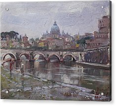 San Pietro In A Rainy Day Rome Acrylic Print by Ylli Haruni